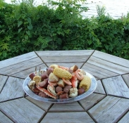 Low country boil on a platter.